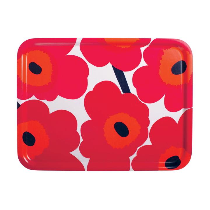 Marimekko - Pieni Unikko Tablett 43 x 33 cm, weiß / rot