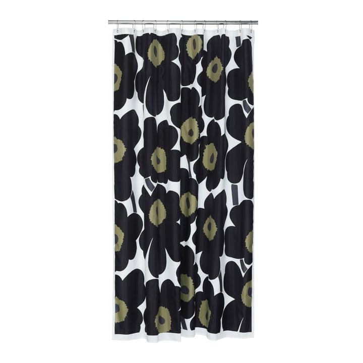 Marimekko - Unikko Duschvorhang, weiß / schwarz