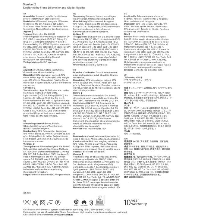 Kvadrat - Stoffkarte Steelcut 2 - Beschreibung