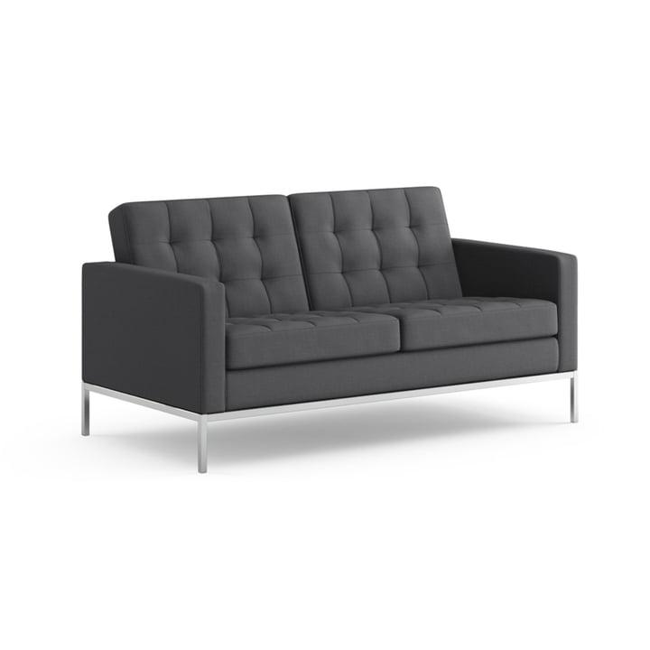 Knoll - Florence Sofa 2-Sitzer - Bezug Hopsack, charcoal
