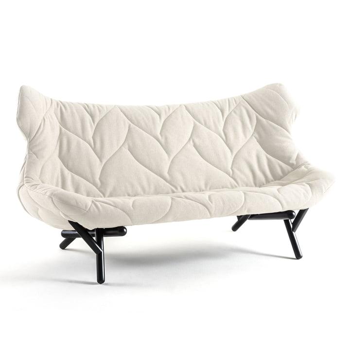 Kartell - Foliage Sofa, Wollstoff weiß, schwarze Beine