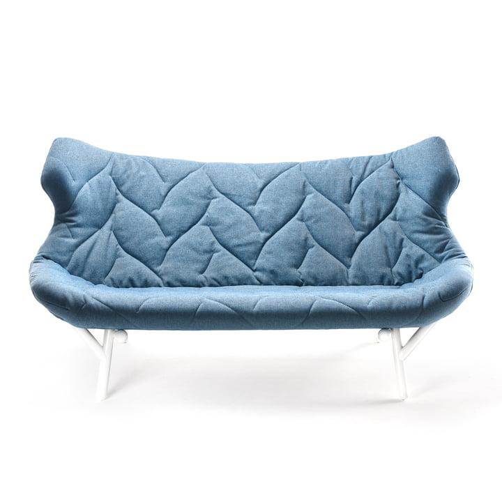 Kartell - Foliage Sofa, blaues Trevia, weiße Beine