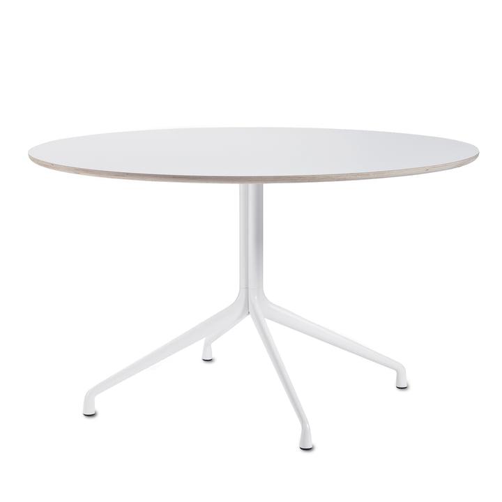 Hay - About A Table AAT 20 Esstisch, 4-beinig, Ø128 cm, weiß/weiß (Kunststoffgleiter)