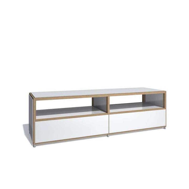 Flötotto - ADD Lowboard, 2 Schubladen unten, Melamin weiß