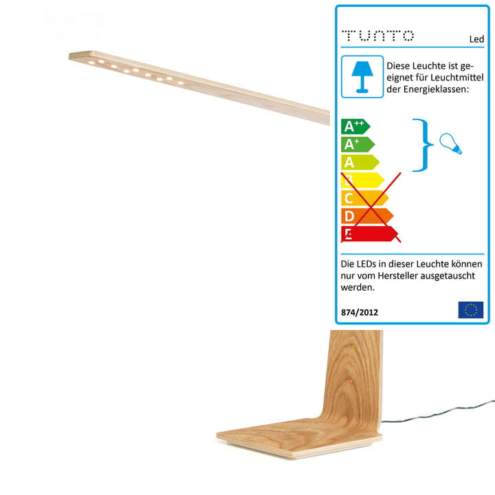 Led 8 Tischleuchte mit Qi Wireless von Tunto aus Eiche Natur