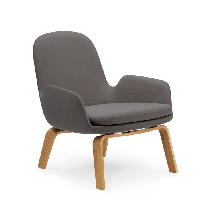 Era Lounge Chair Low von Normann Copenhagen in Eiche / dunkelgrau (Breeze Fusion 4001)
