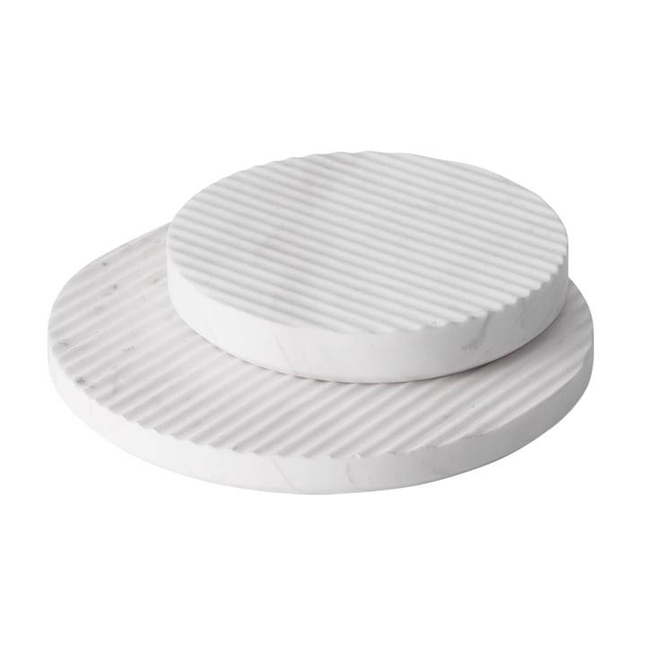 Groove Marmor-Untersetzer von Muuto in Weiß