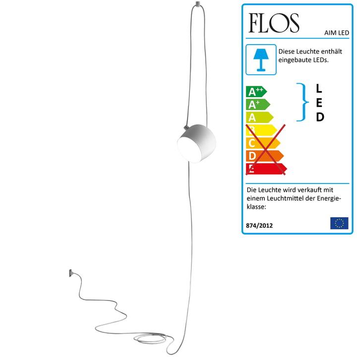 Flos - AIM Pendelleuchte weiß, cable+plug
