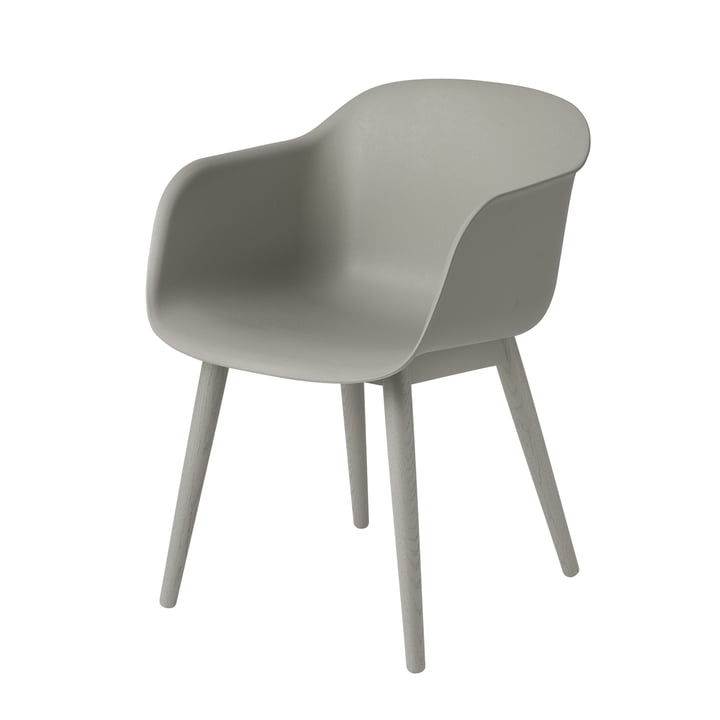 Fiber Chair Wood Base von Muuto in grau