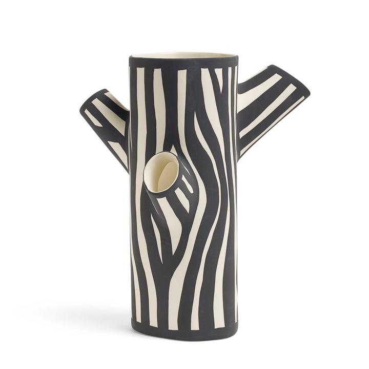Tree Trunk Vase H 30 medium von Hay in Schwarz/ Weiß