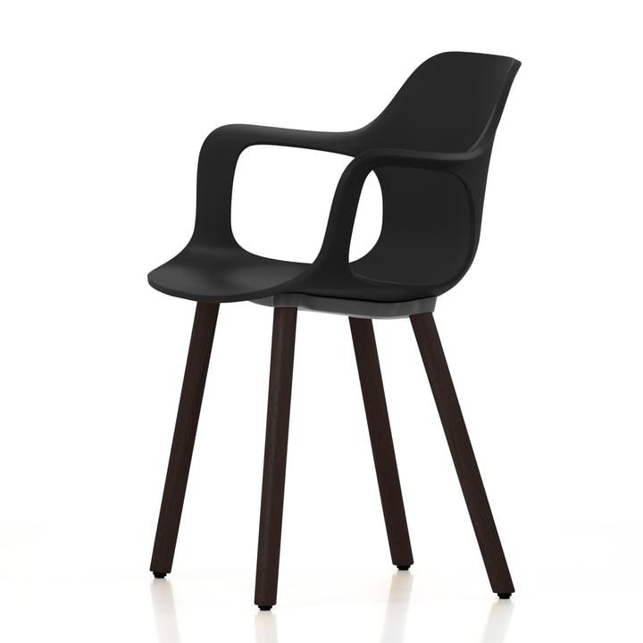 Vitra - Hal Wood Armlehnstuhl, basic dark / Eiche massiv, dunkel / Filzgleiter (schwarz)