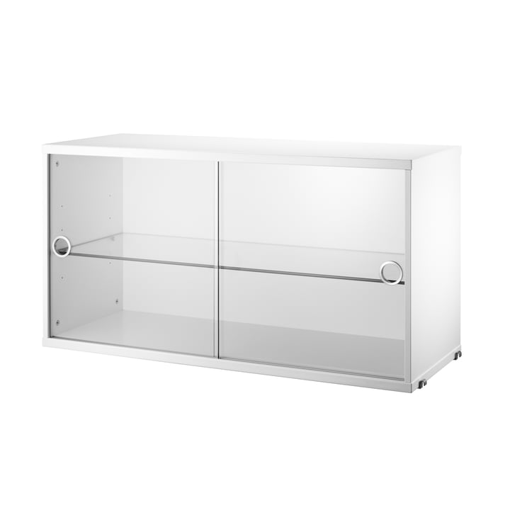 Vitrinenschrank mit Schiebetüren in Glas 78 x 30 cm von String in Weiß