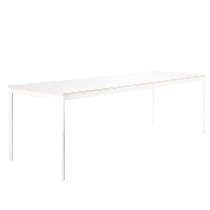 Der Base Table, Gestell: weiß, Platte: weiß mit Sperrholzkante von Muuto