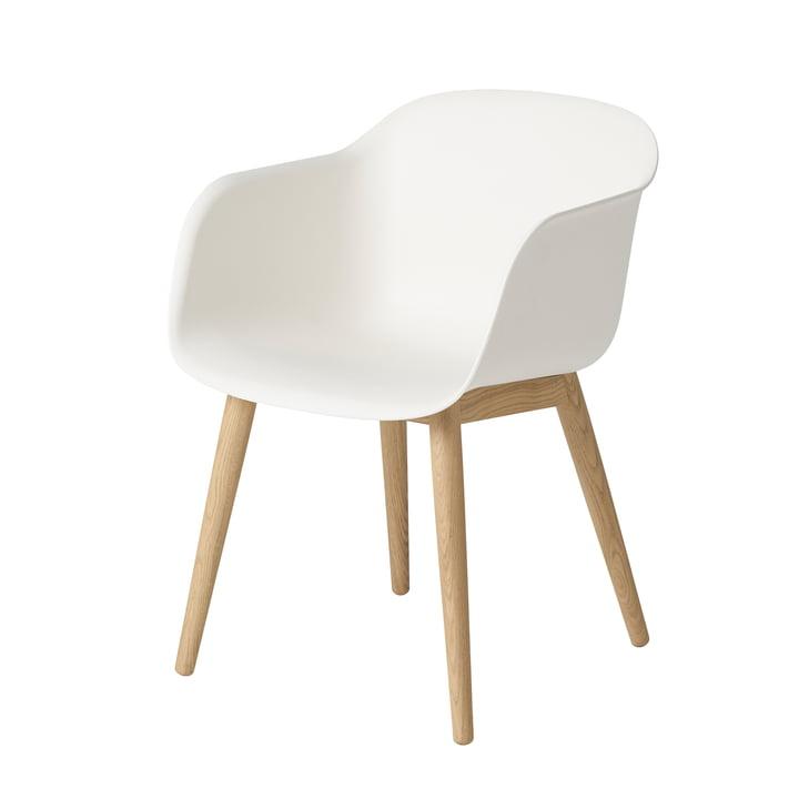 Fiber Chair Wood Base von Muuto in Eiche / weiß
