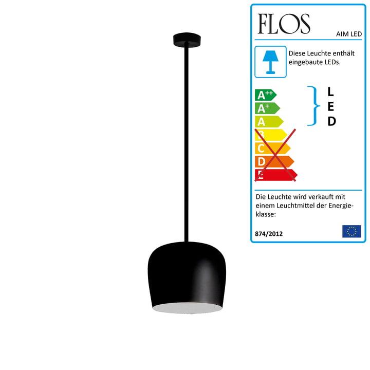 Flos - AIM Small LED-Pendelleuchte Fix, schwarz