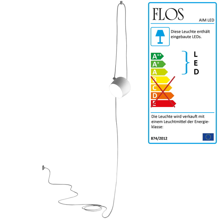 Flos - AIM Small LED-Pendelleuchte Cable + Plug, weiß