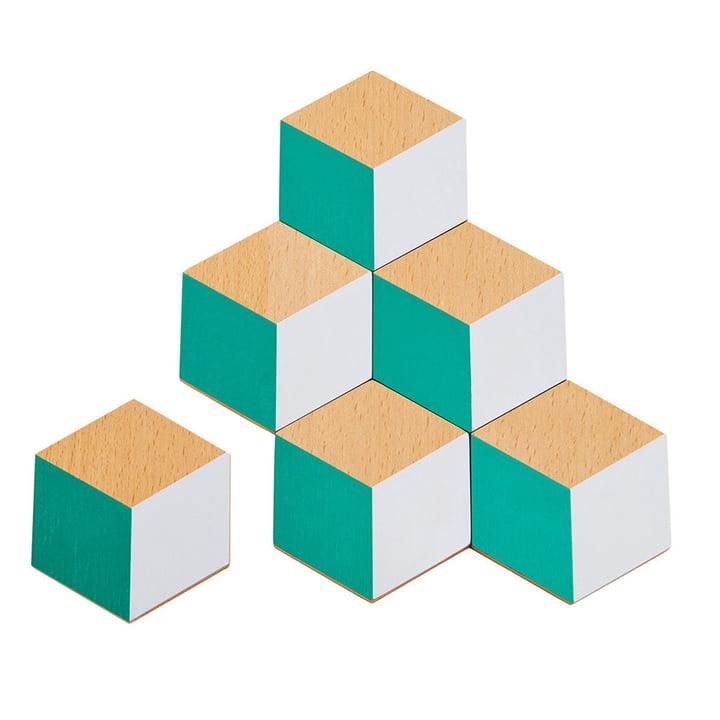 Areaware - Untersetzer, grün / grau (6er-Set)