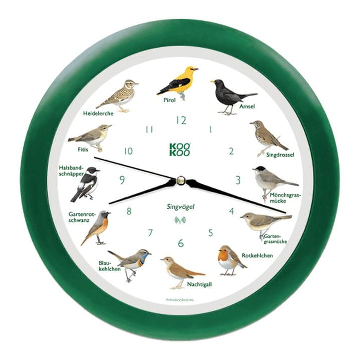 Singvogel Wanduhr RC von KooKoo in Grün