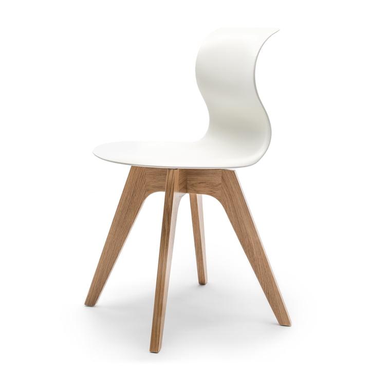 Flötotto - Pro 6 Stuhl Viersternholzuntergestell , Eiche natur / schneeweiß, Filzgleiter