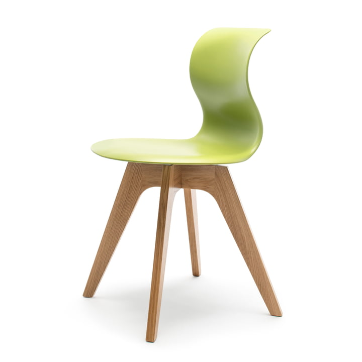 Flötotto - Pro 6 Stuhl Viersternholzuntergestell , Eiche natur / kiwigrün, Filzgleiter