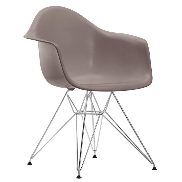 Eames Plastic Armchair DAR von Vitra in verchromt / mauve grau