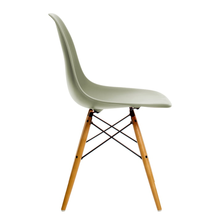 Vitra - Eames Plastic Side Chair DSW, Ahorn gelblich / moosgrau