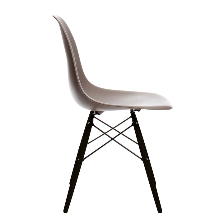 Eames Plastic Side Chair DSW von Vitra in Ahorn schwarz / mauve grau