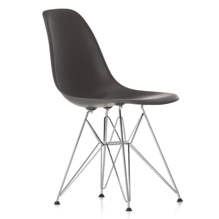Vitra - Eames Plastic Side Chair DSR, verchromt / basalt, Filzgleiter schwarz