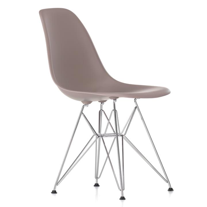 Eames Plastic Side Chair DSR von Vitra in verchromt / mauve grau