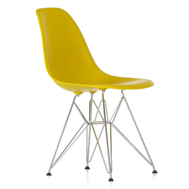Eames Plastic Side Chair DSR von Vitra in verchromt / senf