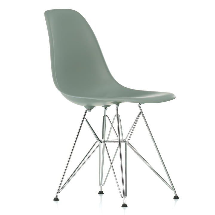 Eames Plastic Side Chair DSR von Vitra in verchromt / moosgrau