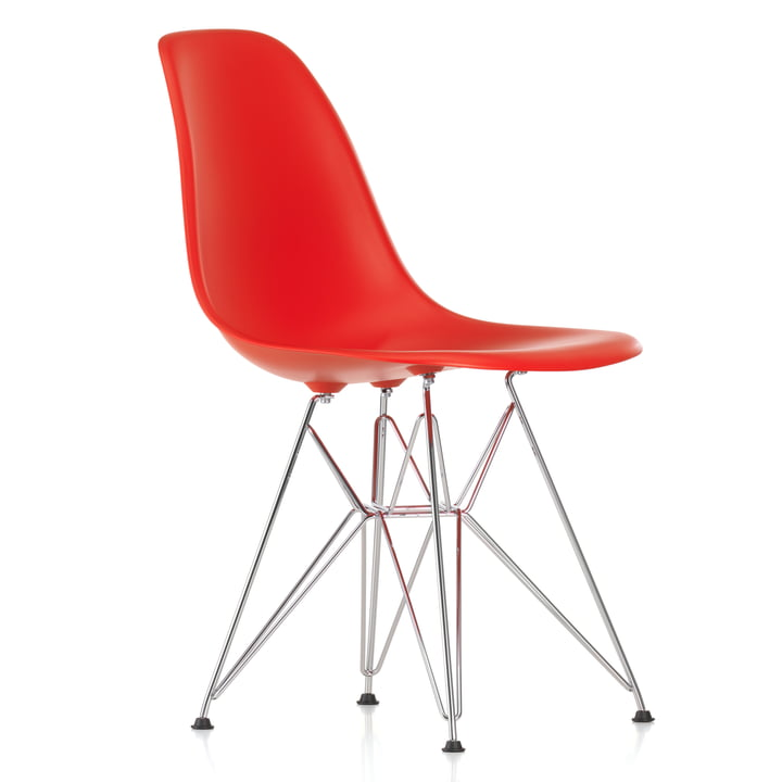 Eames Plastic Side Chair DSR von Vitra in verchromt / classic red