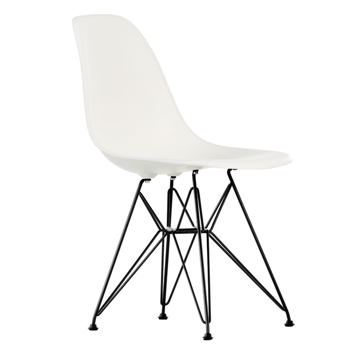 Eames Plastic Side Chair DSR von Vitra in basic dark / weiß