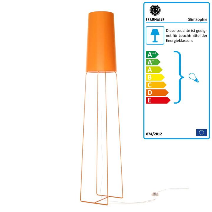 Slimsophie Stehleuchte mit LED-Dimmer von frauMaier in orange
