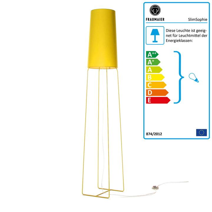 Slimsophie Stehleuchte mit LED-Dimmer von frauMaier in gelb