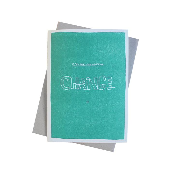Color Block Wisdom Grußkarte Change von Sascha Mombartz für Holstee