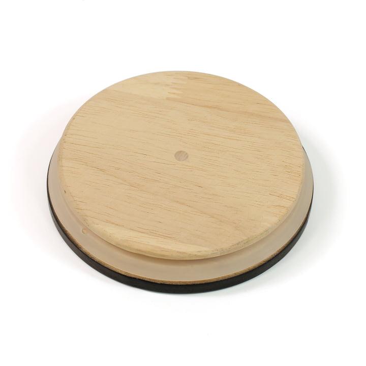 Holzdeckel für die Arne Jabosen Vase von Design Letters in Schwarz