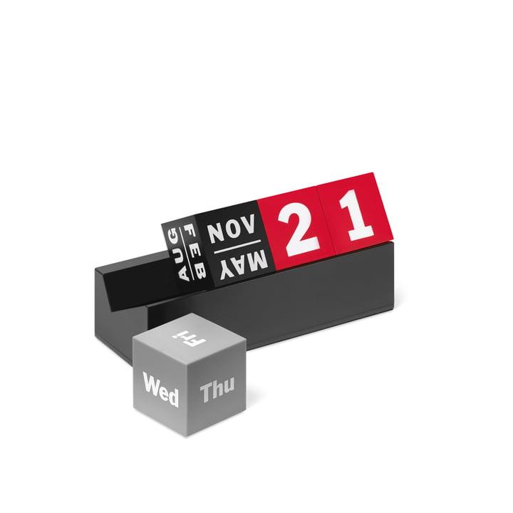 Ewiger Kalender Würfel aus der MoMA Collection in Rot, Schwarz und verschiedenen Grautönen