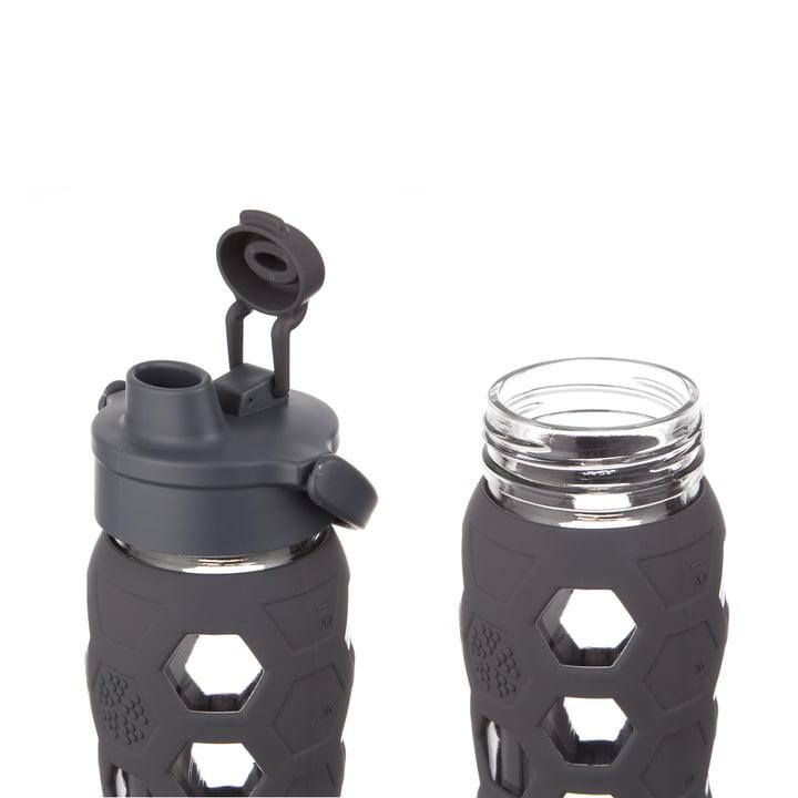 Glasflasche 0.6 Liter mit Flip Top Cap von Lifefactory in Carbon