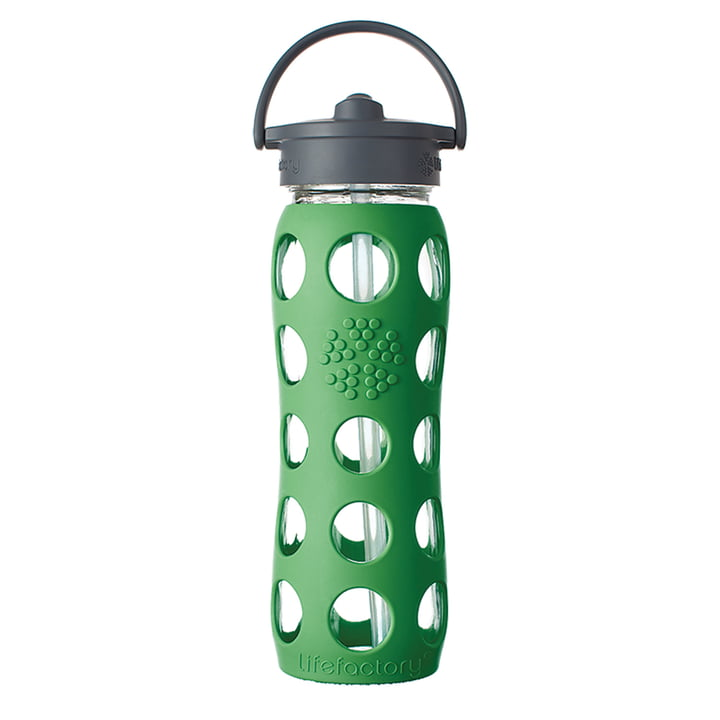 Glasflasche 0.6 Liter mit Straw Cap von Lifefactory in Grün