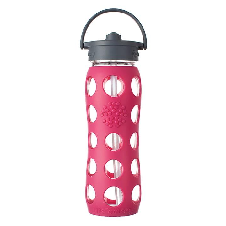 Glasflasche 0.6 Liter mit Straw Cap von Lifefactory in Pink
