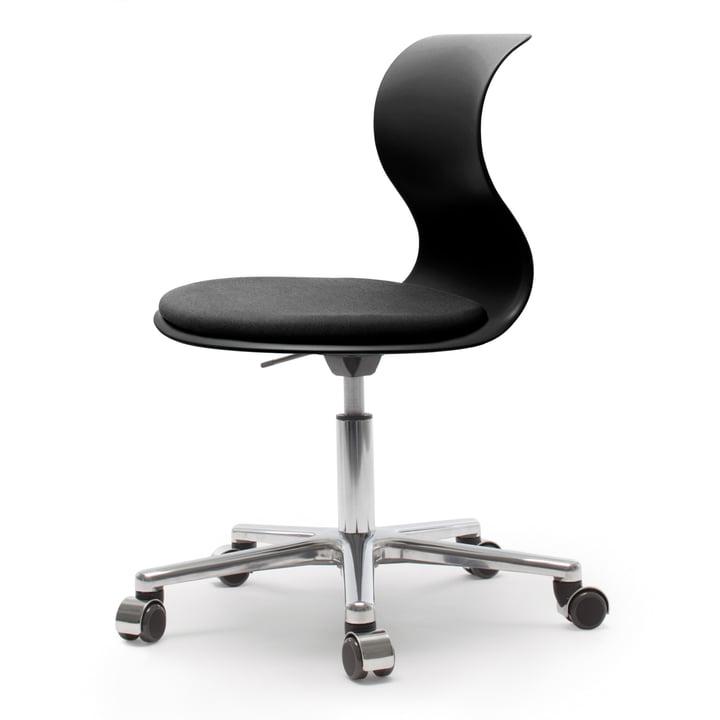 Flötotto - Pro 6 Drehstuhl in Graphitschwarz mit Sitzpolster