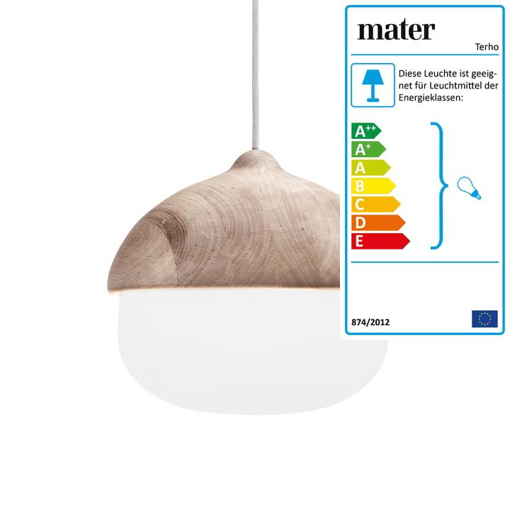 Mater - Terho Pendelleuchte, Ø 30,5 x H 30 cm, Erlenholz / weiß