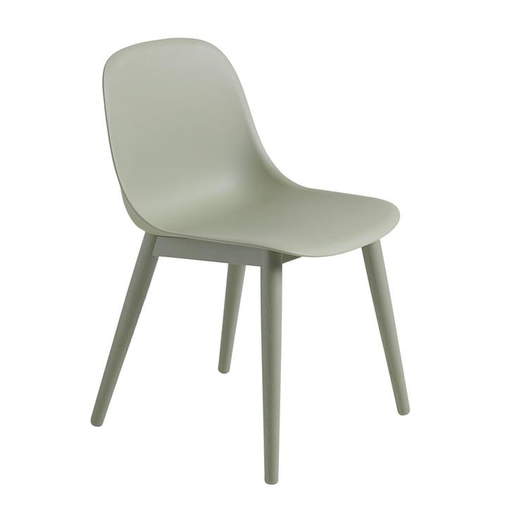 Fiber Side Chair Wood Base von Muuto in dusty green