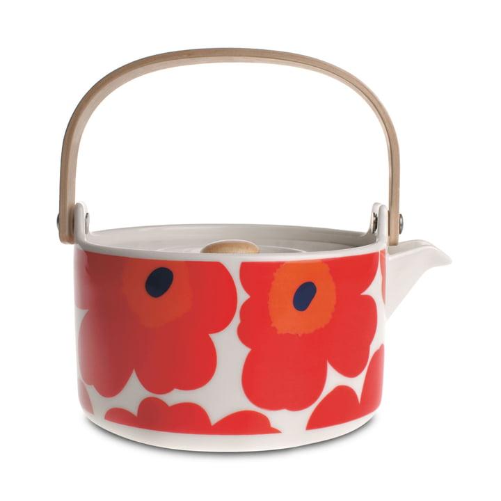 Die Oiva Unikko Teekanne von Marimekko in weiß / rot