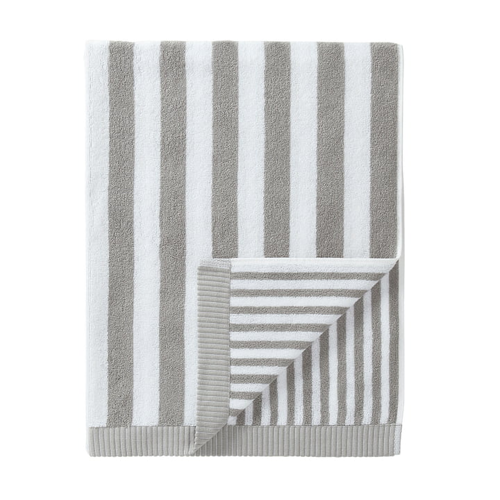 Marimekko - Kaksi Raitaa Badetuch 75 x 150 cm, grau / weiß