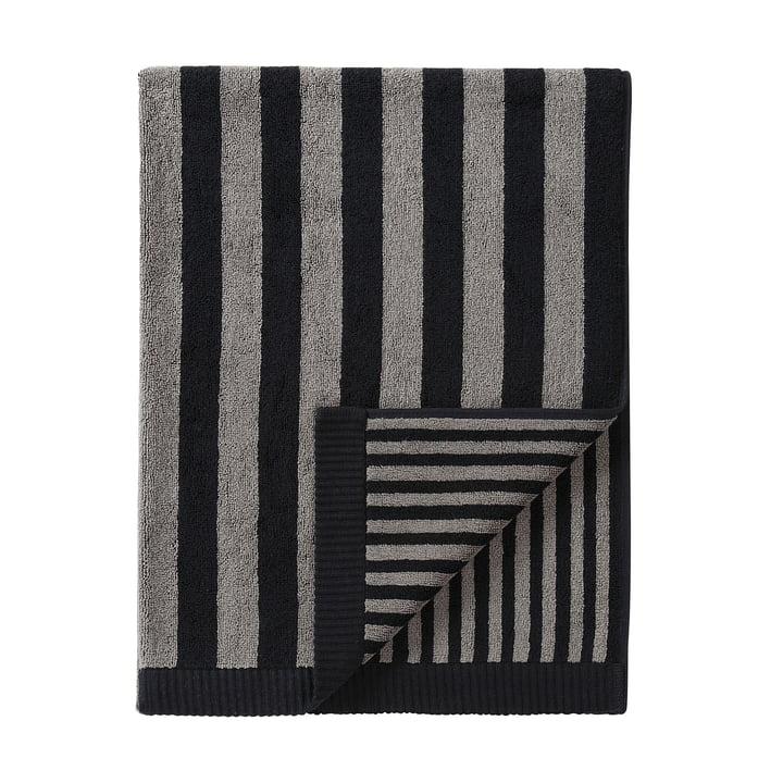 Marimekko - Kaksi Raitaa Badetuch 75 x 150 cm, grau / schwarz