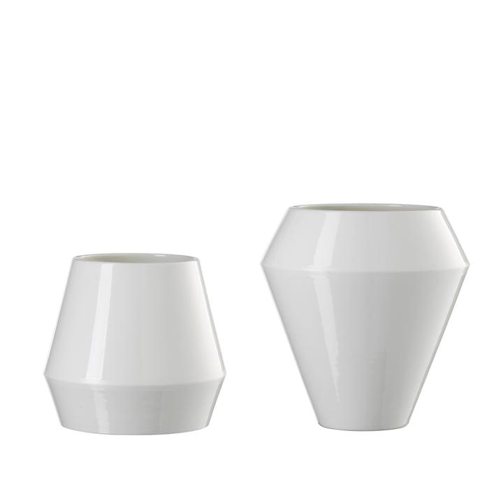 by Lassen - Rimm Vase klein und groß, staubiges weiss