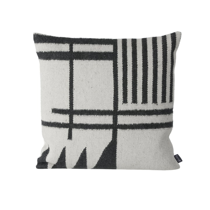 Kelim Cushion Kissen von ferm Living in Black Lines