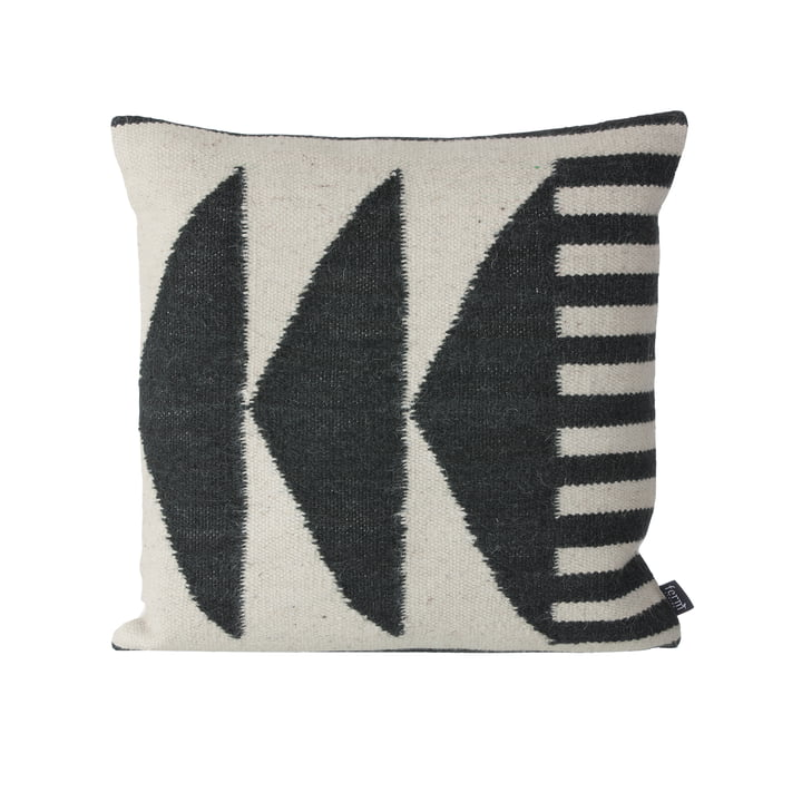 Kelim Cushion Kissen von ferm Living in Black Triangles